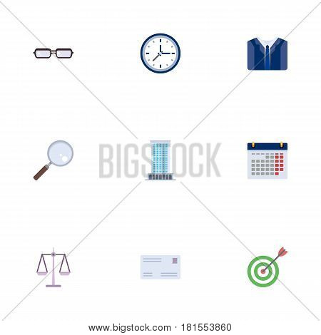 Flat Envelope, Clock, Costume And Other Vector Elements. Set Of Employment Flat Symbols Also Includes Mail, Center, Scales Objects.