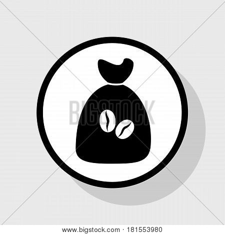 Coffee bag Icon. Coffee bag. Vector. Coffee bag Icon Button. Vector. Flat black icon in white circle with shadow at gray background.