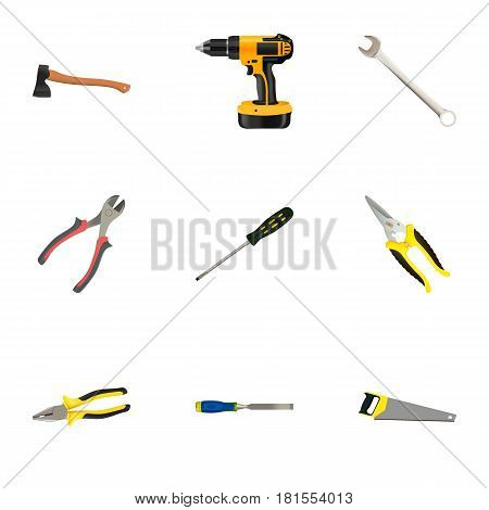 Realistic Electric Screwdriver, Carpenter, Forceps And Other Vector Elements. Set Of Construction Realistic Symbols Also Includes Saw, Carpenter, Sawmill Objects.