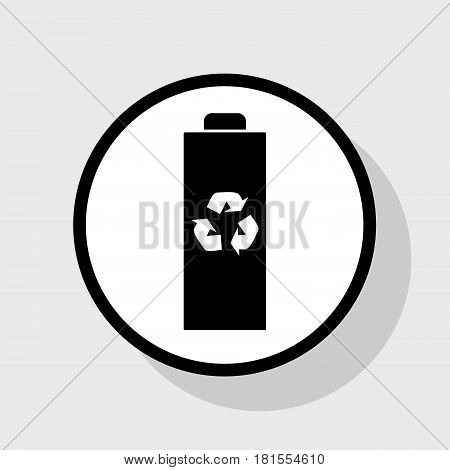 Battery recycle sign illustration. Vector. Flat black icon in white circle with shadow at gray background.