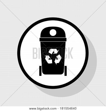 Trashcan sign illustration. Vector. Flat black icon in white circle with shadow at gray background.