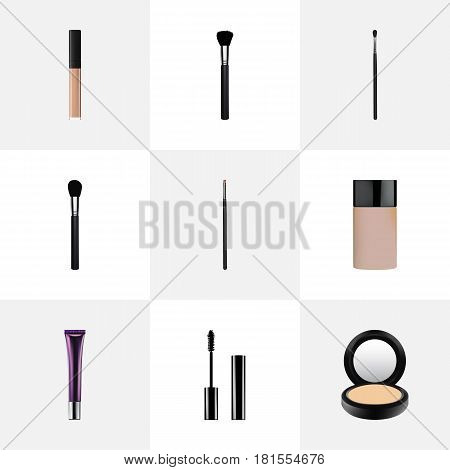 Realistic Make-Up Product, Blusher, Fashion Equipment And Other Vector Elements. Set Of Cosmetics Realistic Symbols Also Includes Brow, Powder, Makeup Objects.