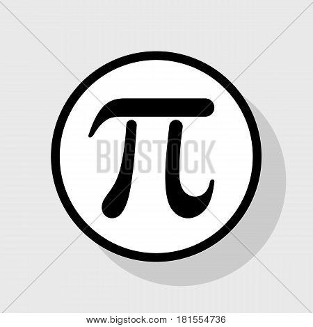 Pi greek letter sign. Vector. Flat black icon in white circle with shadow at gray background.