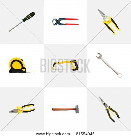 Realistic Handle Hit, Pliers, Arm-Saw Vector Elements. Set Of Construction Realistic Symbols Also Includes Sledge, Pincers, Screwdriver Objects.