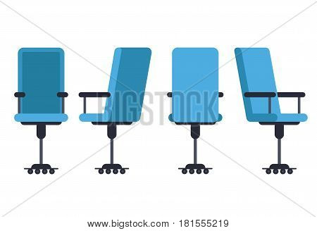 Office or desk chair in various points of view. Armchair or stool in front back side angles. Corporate castor furniture flat icon design. Vector illustration.