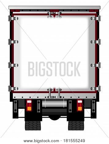 The rear end of a large lorry over a white background with copy space area