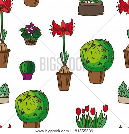 pattern of indoor plants. It contains violet, cactus and others in a box, a glass jar, jars, pots. White background. Painted in scribbles. Color version.