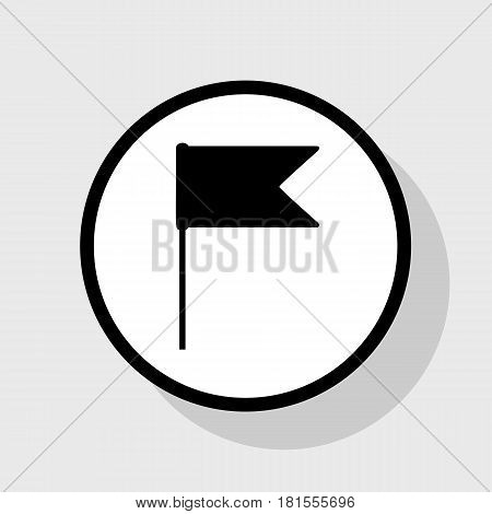 Flag sign illustration. Vector. Flat black icon in white circle with shadow at gray background.