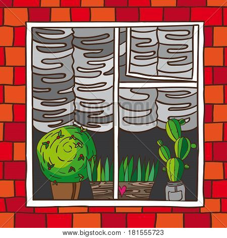Window with potted flowers. It shows a wall of the building with a window inside which are potted plants in pots and hanging curtains. made in the doodle.