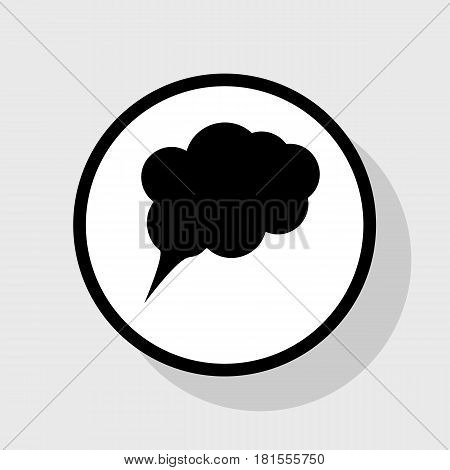 Speach bubble sign illustration. Vector. Flat black icon in white circle with shadow at gray background.