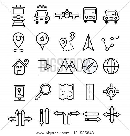 Travel Icons In Flat Solid Line Design. Map Markers And Transportation Signs And Symbols. Tourism Na