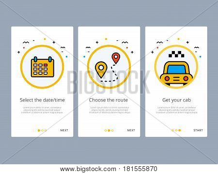 Taxi booking or order onboarding screens design. Web UI GUX and UX template for mobile apps on smartphone or website. Modern illustration layout with line vector icons and elements.