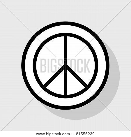 Peace sign illustration. Vector. Flat black icon in white circle with shadow at gray background.