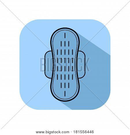 Feminine pad, sanitary napkin. Flat icon of hygiene. Vector