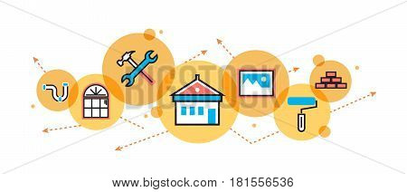 Flat line illustration of house and home remodeling process repair service painting renovation and construction for website banner and landing page header infographics logo and icon in circle