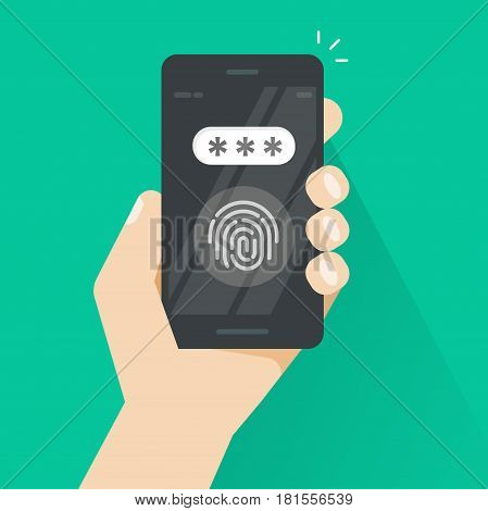 Hand with smartphone unlocked with fingerprint and password field vector, concept of security, personal access via finger on mobile phone, user authorization, login, protection technology
