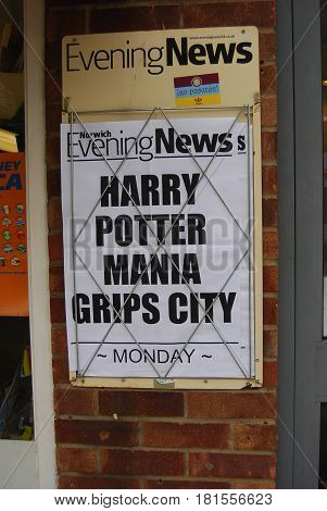 Norwich,England-August 1,2016: Newspaper headline about the latest book in the Harry Potter Series