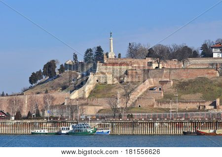 Kalemegdan fortress in Belgrade, Serbia. View on fortress from the river.