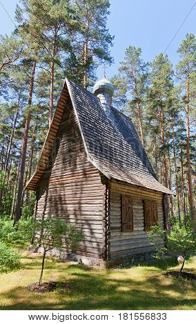 RIGA LATVIA - JUNE 13 2016: Wooden orthodox church (circa 1930s) of Rogovka village in Latvia. Exhibited in Ethnographic Open-Air Museum of Latvia since 1974