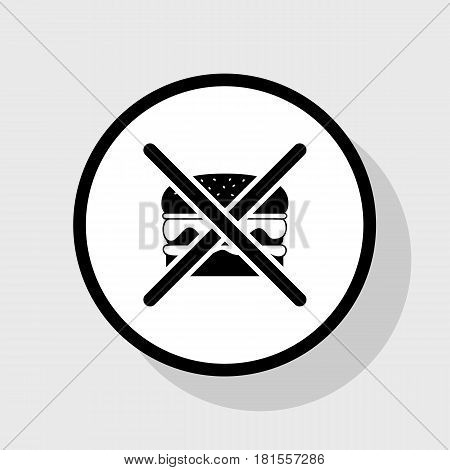 No burger sign. Vector. Flat black icon in white circle with shadow at gray background.