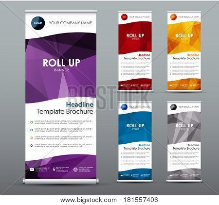 Et Of Vertical Roll Up Banners. Templates, Vertical Brochures, With Colored Polygonal Elements