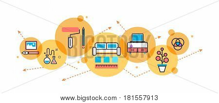 Flat line illustration of interior design process furniture painting construction decoration for website banner and landing page header infographics logo and icon in circle printed materials