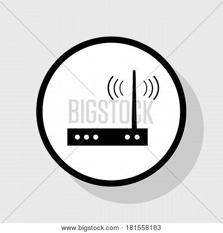 Wifi modem sign. Vector. Flat black icon in white circle with shadow at gray background.