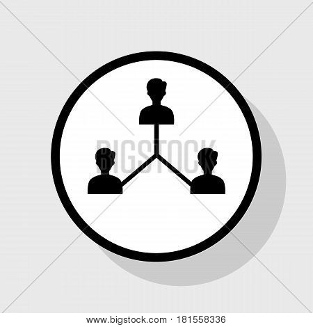 Social media marketing sign. Vector. Flat black icon in white circle with shadow at gray background.