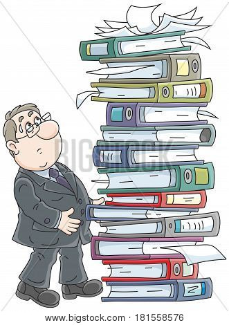 Clerk with a high stack of folders with documents