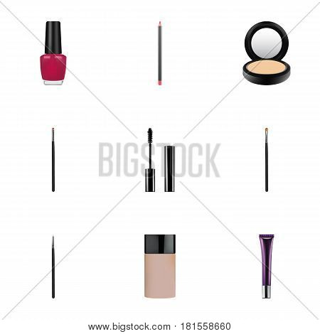 Realistic Varnish, Day Creme, Contour Style Kit And Other Vector Elements. Set Of Greasepaint Realistic Symbols Also Includes Contour, Makeup, Eye Objects.