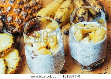 Glasses Of Chia Seeds Pudding With Mango