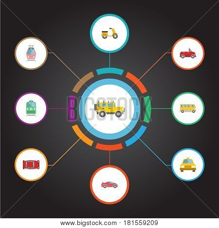 Flat Omnibus, Automotive, Transport And Other Vector Elements. Set Of Auto Flat Symbols Also Includes Car, Passenger, Tram Objects.