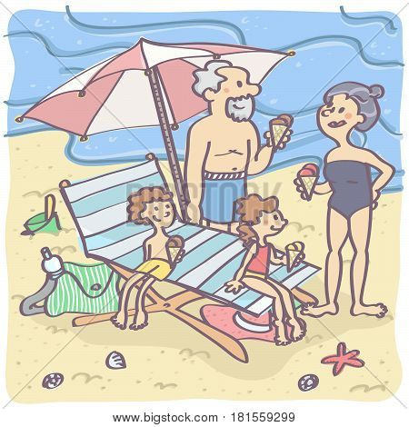Lovely cartoon illustration with grandparents and grandchildren on the beach, eating ice cream