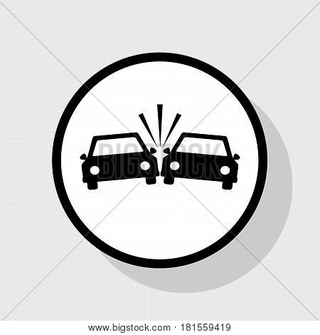 Crashed Cars sign. Vector. Flat black icon in white circle with shadow at gray background.