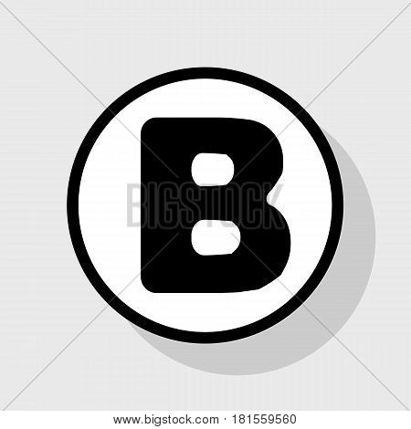 Letter B sign design template element. Vector. Flat black icon in white circle with shadow at gray background.