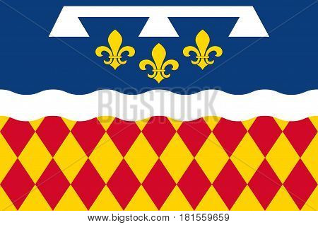 Flag of Charente is a department in southwestern France in the Nouvelle-Aquitaine region. Vector illustration