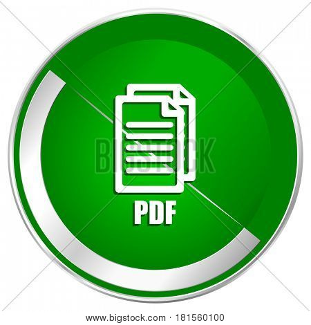 Pdf silver metallic border green web icon for mobile apps and internet.,
