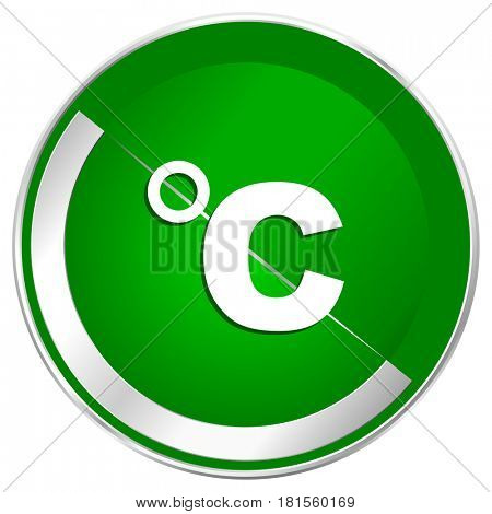 Celsius silver metallic border green web icon for mobile apps and internet.
