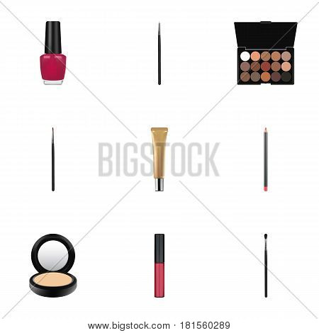 Realistic Cosmetic Stick, Blusher, Liquid Lipstick And Other Vector Elements. Set Of Cosmetics Realistic Symbols Also Includes Collagen, Cosmetics, Blusher Objects.
