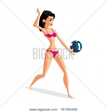 Young woman playing volleyball. Girl puts the ball in the game. Flat isolated vector illustration