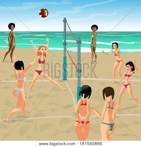 Girls playing volleyball on the beach. Women in bikinis. Start the game the girl attack. Flat cartoon vector illustration.