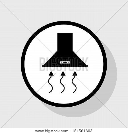 Exhaust hood. Range hood. Kitchen ventilation sign. Vector. Flat black icon in white circle with shadow at gray background.