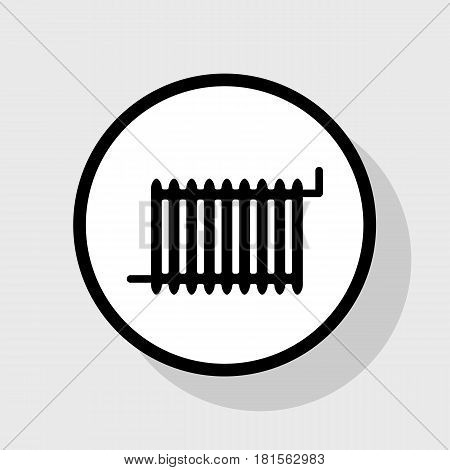 Radiator sign. Vector. Flat black icon in white circle with shadow at gray background.