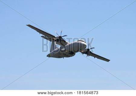 ROME - JUNE 3: An ATR42 of the italian financial police perform at the Rome International Air Show on June 3 2012 in Rome Italy