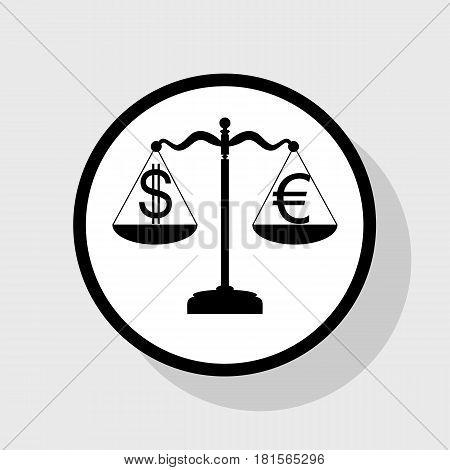 Justice scales with currency exchange sign. Vector. Flat black icon in white circle with shadow at gray background.