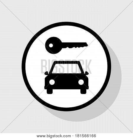 Car key simplistic sign. Vector. Flat black icon in white circle with shadow at gray background.