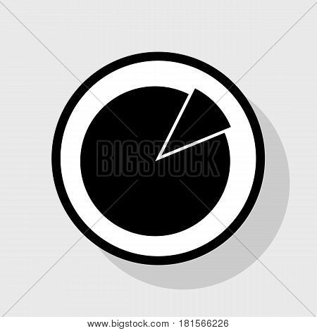 Finance graph sign. Vector. Flat black icon in white circle with shadow at gray background.