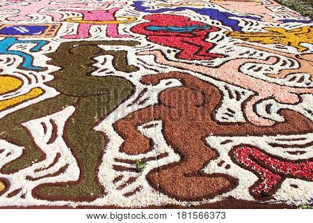 GENZANO ITALY - JUNE 17: Floral Carpet in honor of Keith Haring on June 17 2012 in Genzano Italy. This event takes place every year and every sector honors a specific artist or subject.