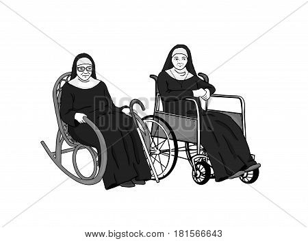 Two elderly nuns are sitting in armchair and wheelchair