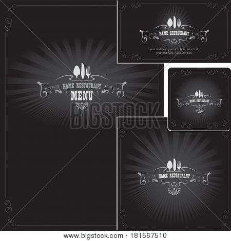 Set of design elements for a cafe or restaurant from the menu business cards and coasters for drinks in style Black and white film